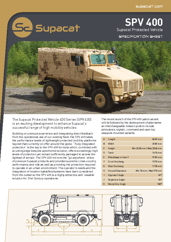 Supacat SPV 400 Data Sheet V1.0