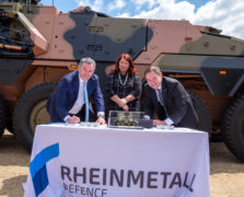 Supacat Managing Director Asia Pacific - Michael Halloran, Managing Director of Rheinmetall Defence Australia - Mr Gary Stewart and Minister for Defence Industry - Hon Melissa Price signing a certificate recognising our contribution to the delivery of the first BOXER Combat Reconnaissance Vehicle to the Commonwealth of Australia.